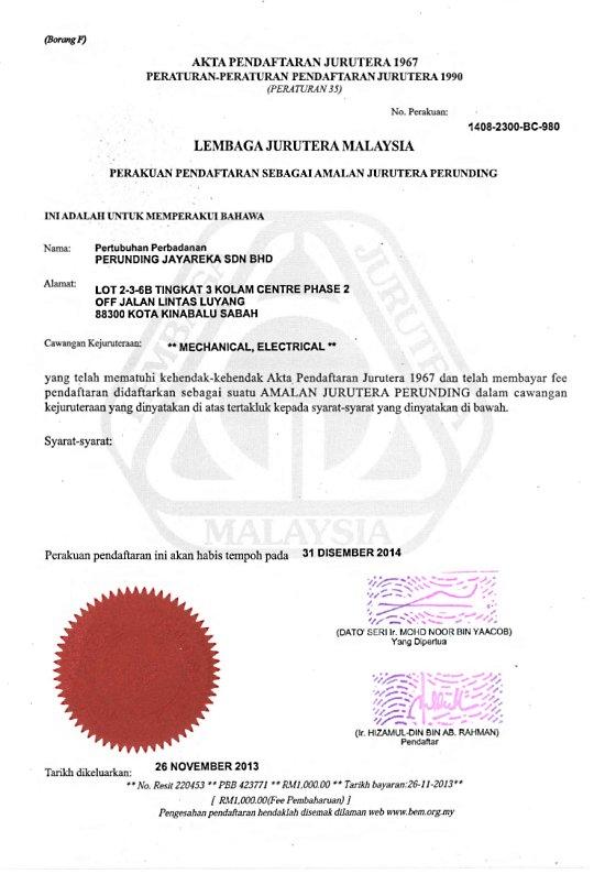 Registered with Lembaga Jurutera Malaysia